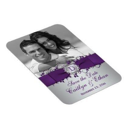 Purple, Silver Floral Save the Date Magnets