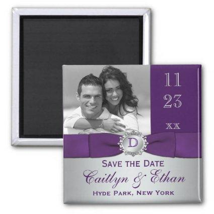 Purple, Silver Gray Floral  Magnets