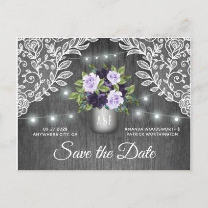 Purple Silver Mason Jar Wedding Save the Date Announcement