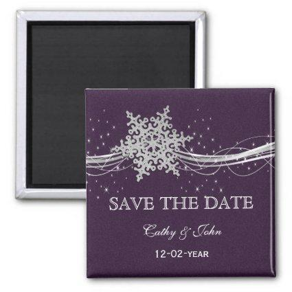 purple Silver Snowflakes Winter save the Date Magnet