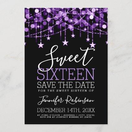 Purple Sweet 16 Sparkly String Lights Save Date Save The Date