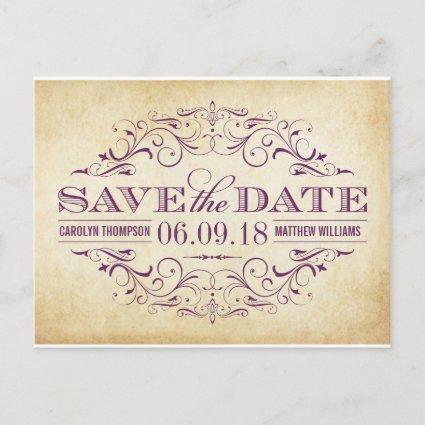 Purple Swirl and Flourish | Vintage Save the Date Announcement