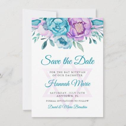 Purple Teal Watercolor Floral Bat Mitzvah Save The Date