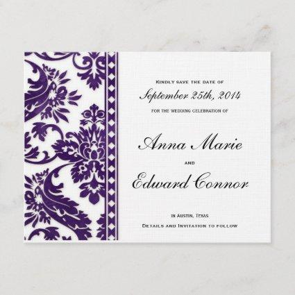 Purple Vintage Damask Lace Save the Dates Save The Date