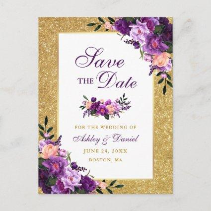 Purple Violet Floral Gold Glitter Save the Date Announcement