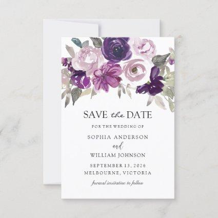 Purple Violet Floral Watercolor Wedding Save The Date