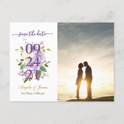 Purple Watercolor Floral Wedding Save the Date Announcement