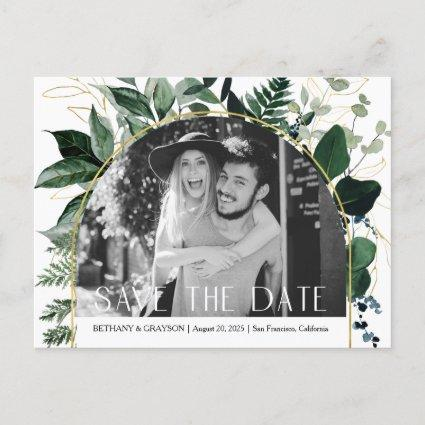 QR code Modern Greenery leaves Photo save the date Announcement