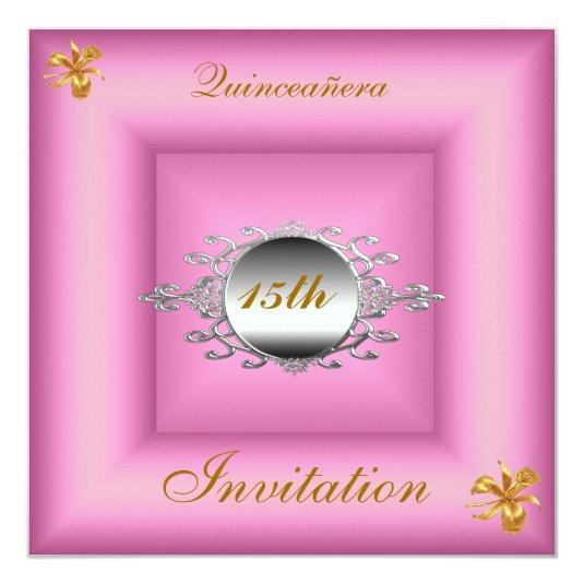 quinceañera 15 birthday invitation pink silver save the date cards
