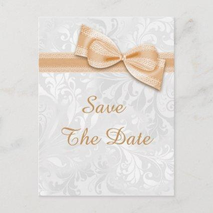 Quinceañera Damask and Faux Bow Save The Date Announcement