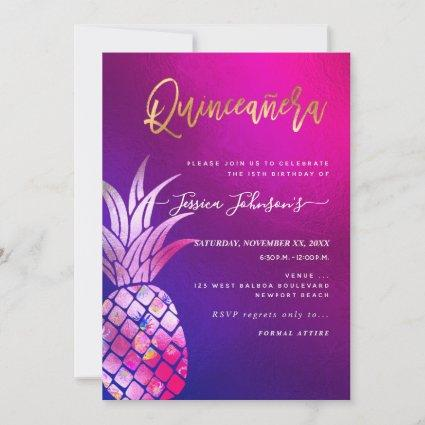 Quinceanera, Faux Gold Watercolor Pineapple Save The Date