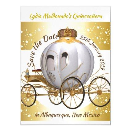 Quinceanera Princess Carriage Save the Date Magnetic Invitation