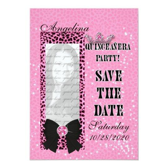 Quinceanera Save the Date Pink Cheetah Print 5 7 Paper Invitation – Invitation Cards for Quinceanera