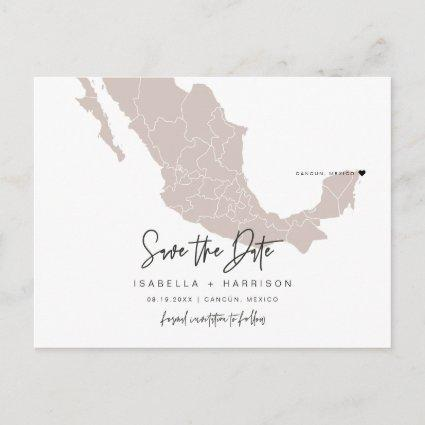 QUINN- Mexico Map Save the Date Moveable Heart!
