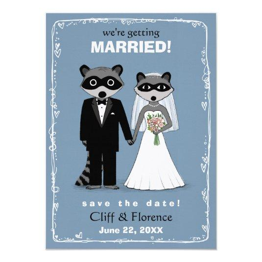 Raccoons Wedding Save the Date 4.5x6.25 Paper Invitation Card