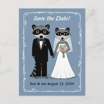 Raccoons Wedding Save the Date Blue Announcement