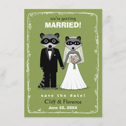 Raccoons Wedding Save the Date Green