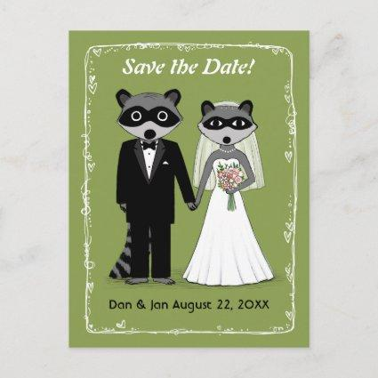 Raccoons Wedding Save the Date Green Announcement