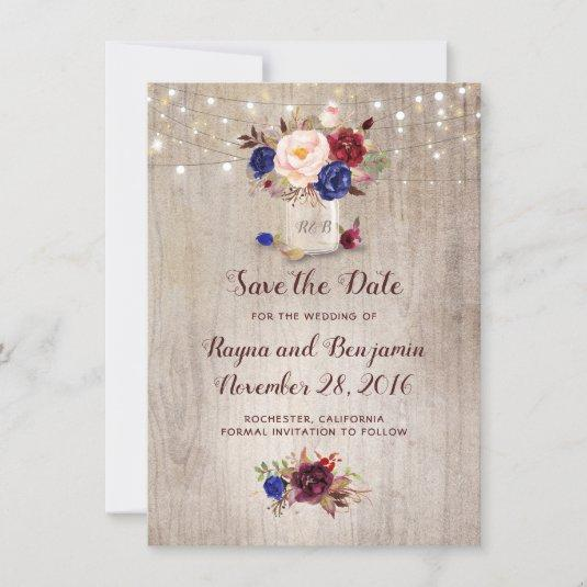 Radiant Blooms Mason Jar Rustic Save the Date