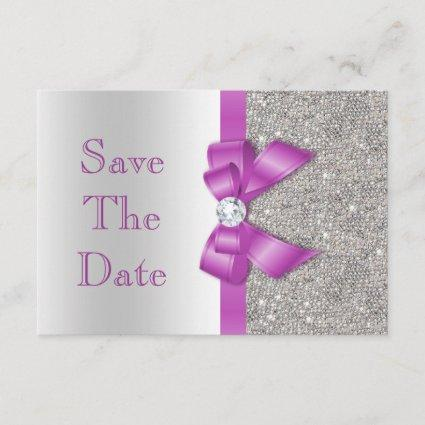 Radiant Orchid Bow & Diamonds Silver Save The Date
