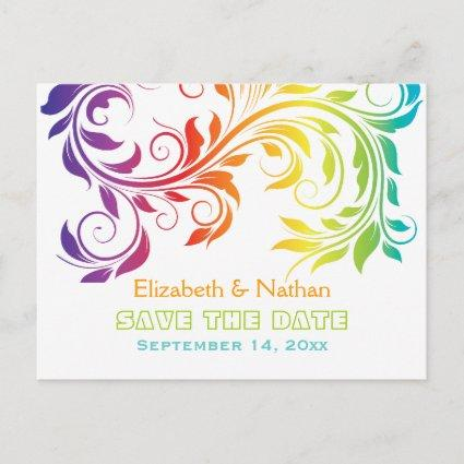 Rainbow colors scroll leaf wedding Save the Date Announcement