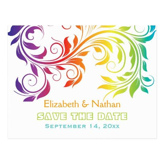 Rainbow colors scroll leaf wedding Save the Date Cards