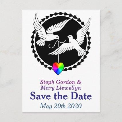 Rainbow Heart Love Doves Save the Date Cards