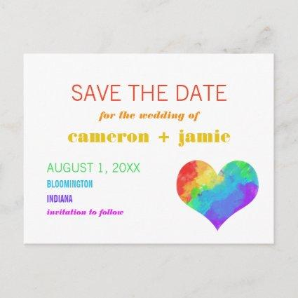 Rainbow Paint Heart Gay Lesbian Save the Date Announcement