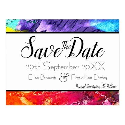 Rainbow Paint Save the Date Cards