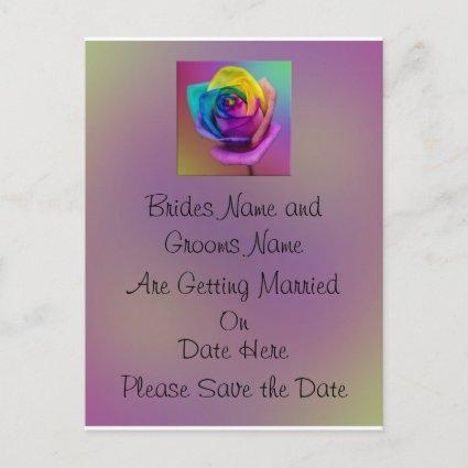 Rainbow Rose Flower Wedding Save the date Announcement