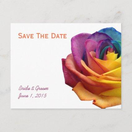 Rainbow Rose Save The Date Card