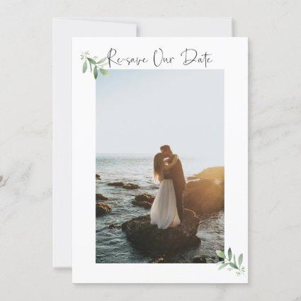 Re-save Our Date Vertical Photo Card  - Watercolor