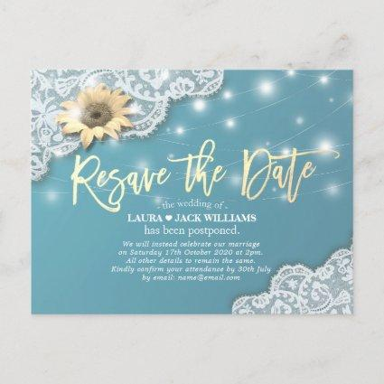 Re-save the Date Wedding Postponement Sunflowers Announcement