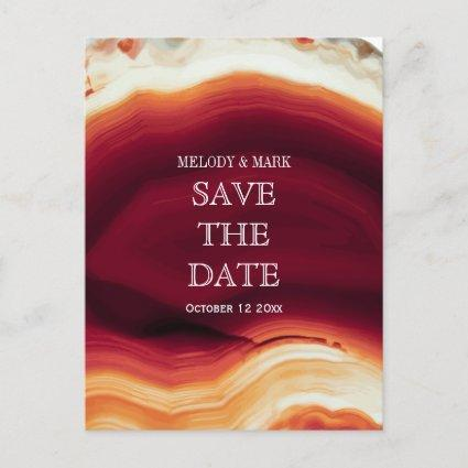 Red agate geode autumn wedding Save the Date Announcement