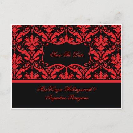 Red and Black Damask Save The Date Announcement