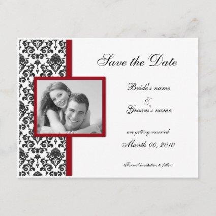 Red and Black Damask Save the Date Photo