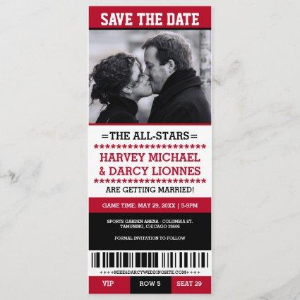 Red and Black Sports Ticket Save the Date