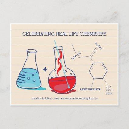 Red and Blue Save the Date Chemistry s