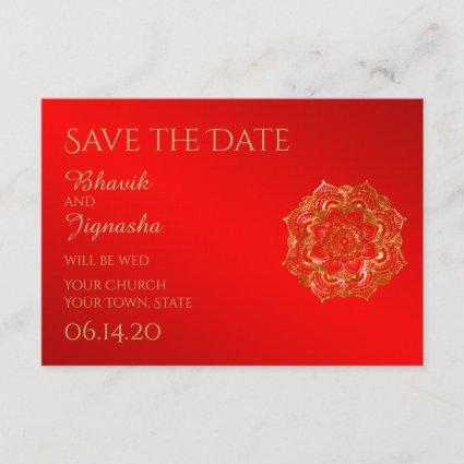 Red and Gold Flower Indian Wedding Save the Date