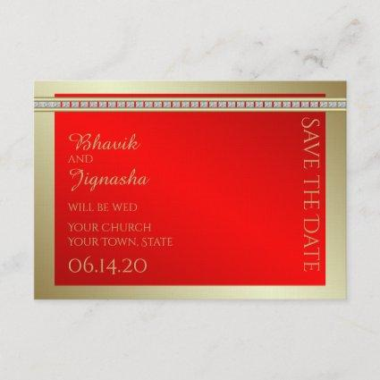 Red and Gold Indian Damask Wedding Save the Date