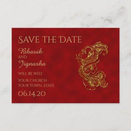 Red and Gold Peacock Indian Wedding Save the Date