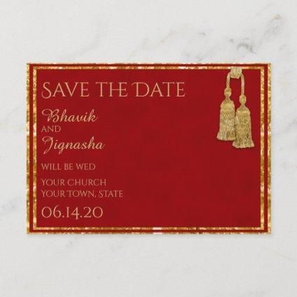 Red and Gold Tassel Indian Wedding Save the Date