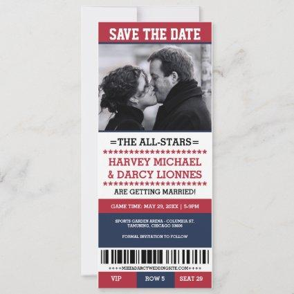 Red and Navy Sports Ticket Save the Date