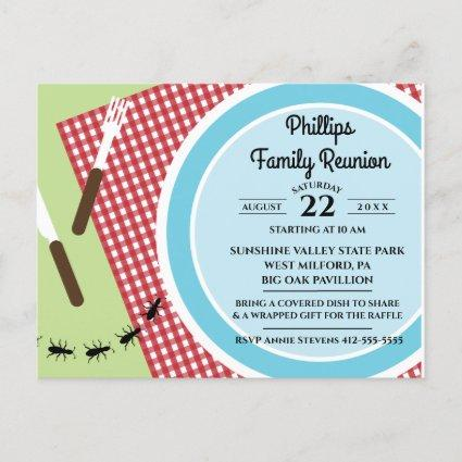 Red and White Checkered Tablecloth Family Reunion Invitation