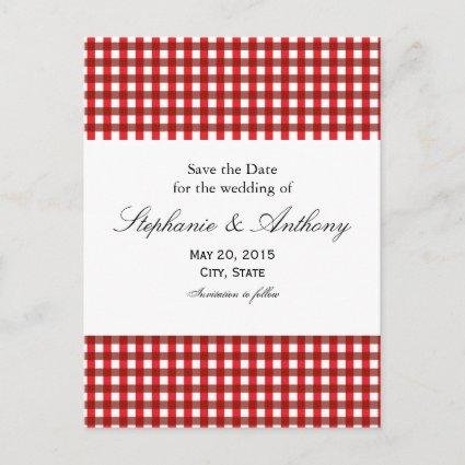 Red and White Gingham Pattern Barbeque Announcement