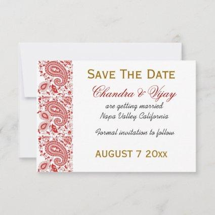 Red and white paisley Save the date wedding