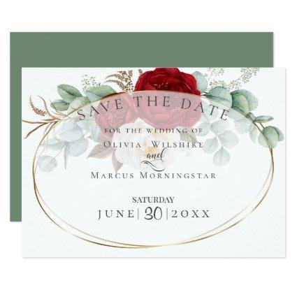 Red and White Peonies with Eucalyptus Leaves Invitation