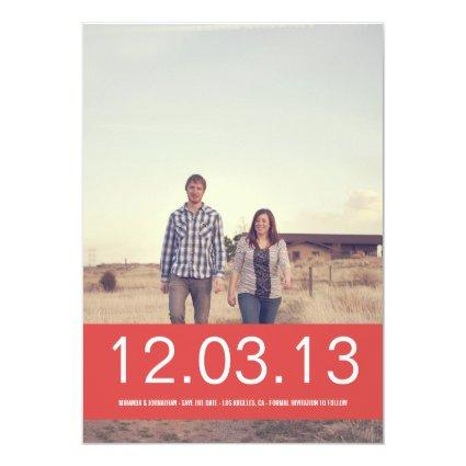 Red Banner Photo Save The Date Announcements
