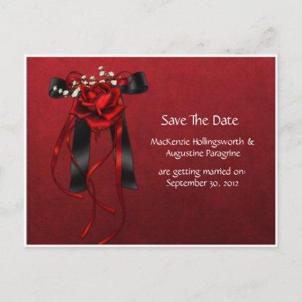 Red & Black Roses Ribbon Save The Date Announcement