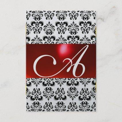 RED BLACK WHITE DAMASK GEM MONOGRAM rsvp silver